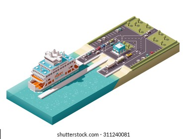 Vector isometric icon or infographic element representing low poly unloading ferry ship in harbor, cars, and ferry ticket office