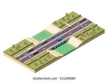 Vector isometric icon or infographic element representing low poly cars and trucks driving on the bridge over the river