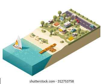 Vector isometric icon or infographic element representing low poly tourist camping, camper van and camping trailer, tents, related equipment on the sea beach