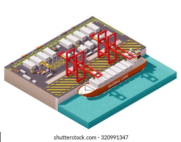Vector isometric icon or infographic element representing low poly cargo port with cranes loading containers on the container ship, trucks, forklifts