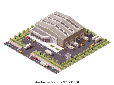 Vector isometric icon or infographic element representing low poly industrial warehouse building, forklifts unloading trucks on the backyard