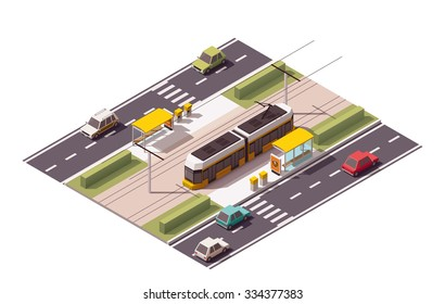 Vector isometric icon or infographic element representing low poly tramway approaching tram station on the street with cars and zebra road crossing