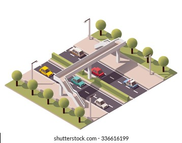 Vector isometric icon or infographic element representing low poly footbridge crossing on the road or street with cars passing by