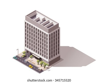 Vector isometric icon or infographic element representing low poly city office building with cars and trees on the street