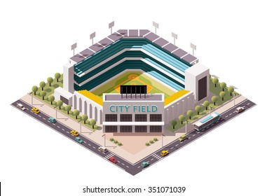 Vector isometric icon or infographic element representing low poly  baseball stadium with cars and buses on the street