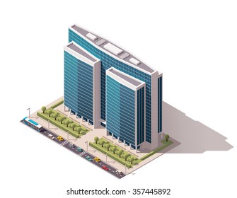 Vector isometric icon or infographic element representing low poly town skyscraper apartment and office building with street roads and cars for city map creation