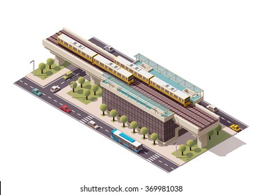 Vector Isometric icon or infographic element representing low poly urban elevated train railway with trains, station building and city transport - cars, taxi and bus