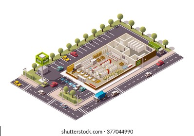 Vector isometric icon or infographic element representing low poly grocery supermarket store cross-section infographic with shop equipment, fridges, shelves, furniture. Parking lot and street included