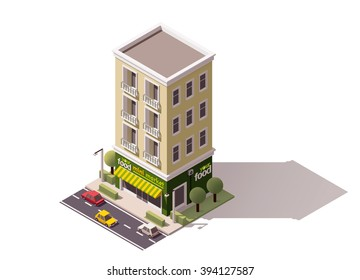 Vector isometric icon or infographic element representing low poly grocery store or supermarket building  with awnings, cars and trees on the street nearby