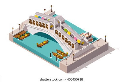 Vector isometric icon or infographic element representing low poly Rialto bridge over the canal with gondolas, Venice, Italy