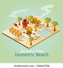Vector isometric icon or infographic element with summer beach.
