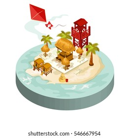 Vector isometric icon or infographic element with summer beach.flat 3d isometric design. Travel concept.