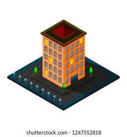 Vector isometric icon or infographic elements representing low poly town apartment building, business, cartoon, organization, office