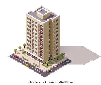 Vector isometric icon or infographic elements representing low poly town apartment building with street  and cars for city map creation