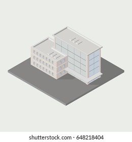 Vector isometric icon ofice building city infrastructure; architecture 3d element representing low poly building; for city map creation.