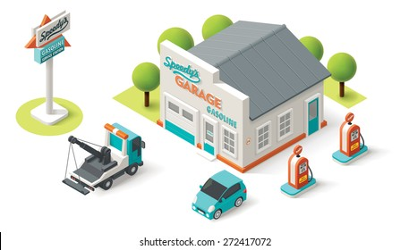 Vector isometric icon representing Car Repair Service garage building with neon sign, tow truck, petrol filling pump and small auto
