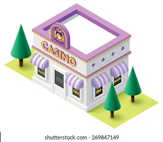 Vector isometric icon representing casino building with neon sign