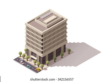 Vector isometric icon representing city office building