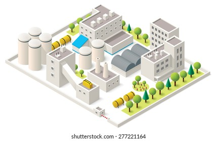 Vector isometric icon representing factory buildings with industrial structures