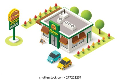 Vector isometric icon representing fast food building with cars and burger advertising sign