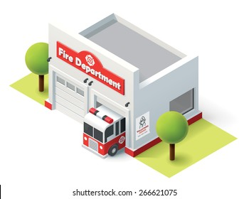 Vector isometric icon representing  firefighters station building with fire truck and garage