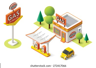 Vector isometric icon representing gas filling station with pumps, neon sign and car