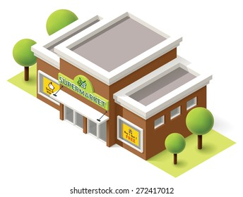 Vector isometric icon representing grocery supermarket building with trees and billboards