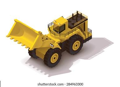 Vector isometric icon representing heavy yellow wheel loader or mining excavator
