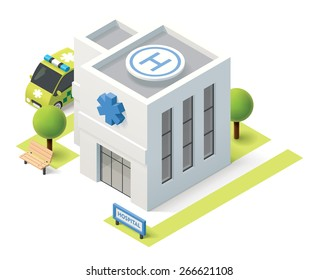 Vector isometric icon representing hospital building with ambulance van