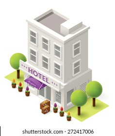 Vector isometric icon representing hotel building with traveler bags, flowers and trees nearby
