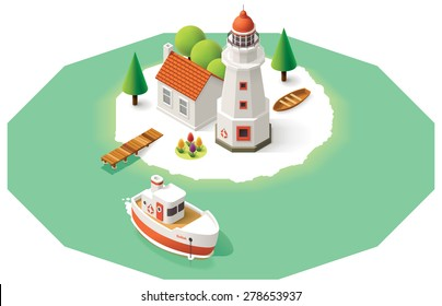 Vector isometric icon representing lighthouse building, pier, ship, house on the island