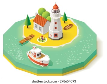 Vector isometric icon representing lighthouse building with pier, ship, boat and house  on the island