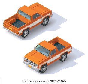 Vector isometric icon representing pickup truck. Car front and back