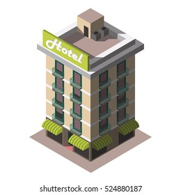 Vector isometric icon representing retro hotel building ,Restaurants and cafe