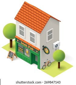 Vector isometric icon representing rural bar building with air conditioning and signs