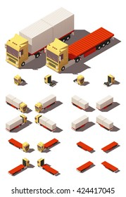 Vector Isometric icon representing truck or tractor with container flatbed semi-trailer in four views with different shadows