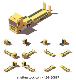 Vector Isometric icon representing truck or tractor with lowboy semi-trailer in four views with different shadows