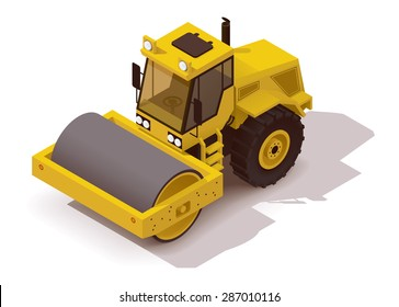 Vector isometric icon representing vibration roller asphalt compactor