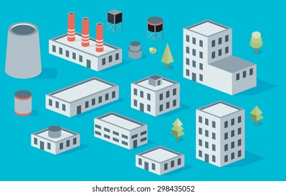 Vector isometric icon set factory production buildings