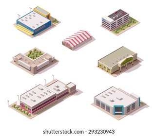 Vector isometric icon set or infographic elements representing low poly supermarket, hypermarket, sale tent, other shopping and retail related buildings