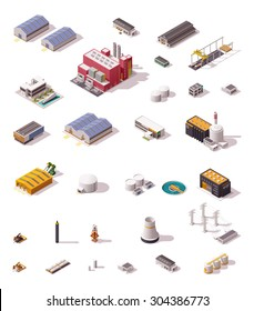 Vector isometric icon set or infographic elements representing low poly industrial structures and buildings - plant, factory, storage, warehouse, hangar, machines and facilities