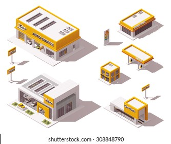 Vector isometric icon set or infographic elements representing low poly car dealership, car service and repair station, car wash buildings