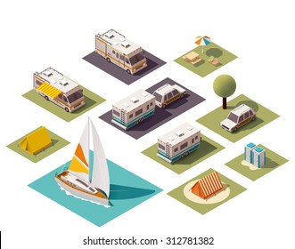 Vector isometric icon set or infographic elements representing low poly tourist camping, camping related equipment, tents, cars, camper trailer and camper van