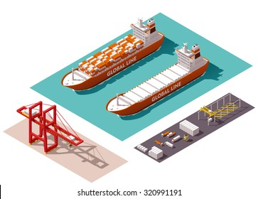 Vector isometric icon set or infographic elements representing low poly cargo port crane, loaded and unloaded container ship, trucks, forklifts