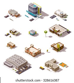 Vector isometric icon set or infographic elements representing low poly buildings - police station, cafe, hospital, warehouse, drugstore, supermarket, shops and stores