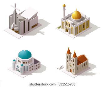 Vector isometric icon set or infographic elements representing low poly Muslim, Christian, Jewish temples buildings - Mosque, Catholic Church, Protestant Church and Synagogue