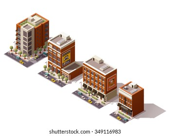 Vector isometric icon set or infographic elements representing low poly city buildings - offices, homes, shops and restaurant with cars and trees on the streets