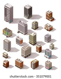 Vector isometric icon set or infographic elements representing different town buildings - houses, skyscrapers, offices, shops and stores, restaurant, cafe for map creation