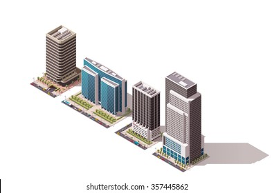 Vector isometric icon set or infographic elements representing low poly town skyscraper apartment and  office buildings with street roads and cars for city map creation