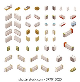 Vector isometric icon set or infographic elements representing grocery or supermarket store equipment, shelves, fridges and other furniture and electronics